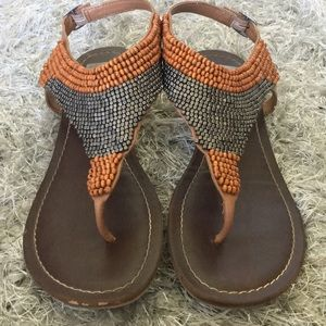 Orange and Silver beaded sandals